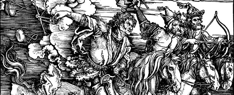 Albrecht Dürer,Die vier Reiter (Detail), Blatt 3 der Apokalypse, 1498