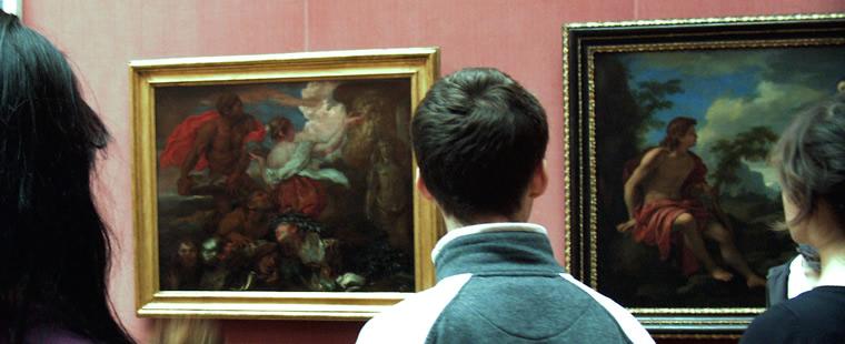 Schülerinnen und Schüler in der Berliner Gemäldegalerie
